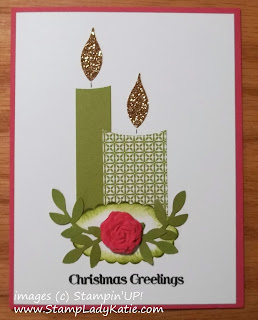 Punch Art Candle Card made with Stampin'UP! Punches and Clay Rose