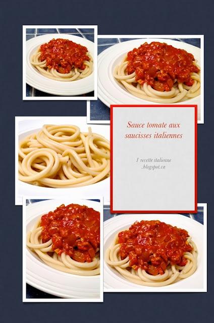1 recette italienne  sauce  u00e0 la tomate et aux saucisses