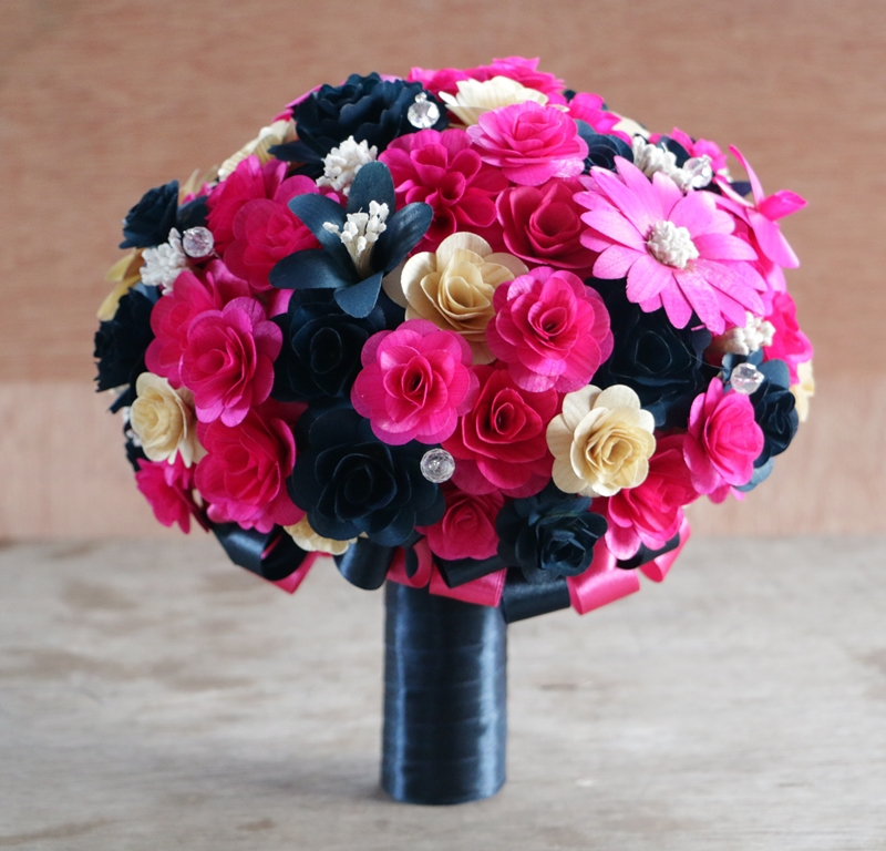 Navy blue and hot pink wedding bouquets made of wooden for Navy blue and pink wedding