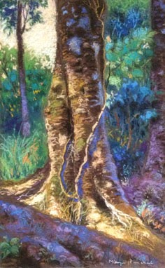 Original soft pastel painting of Coorg landscape with trees, By Manju Panchal