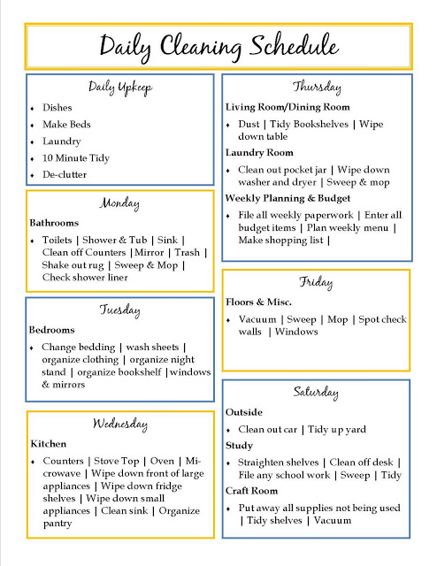 This is a picture of Rare Daily Cleaning Schedule Printable