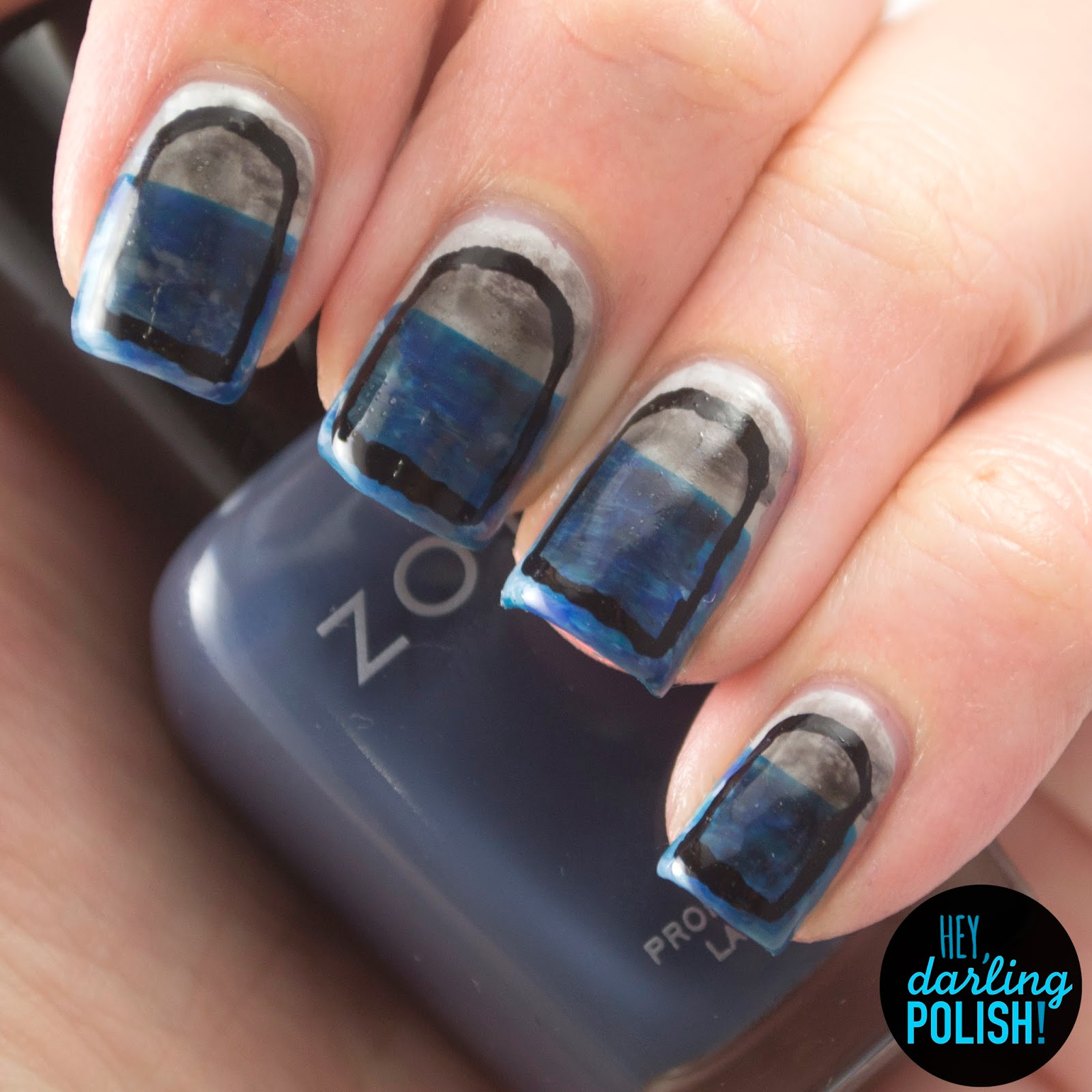 nails, nail art, nail polish, polish, the material, to weather the storm, hey darling polish, music monday, sea, blue, grey
