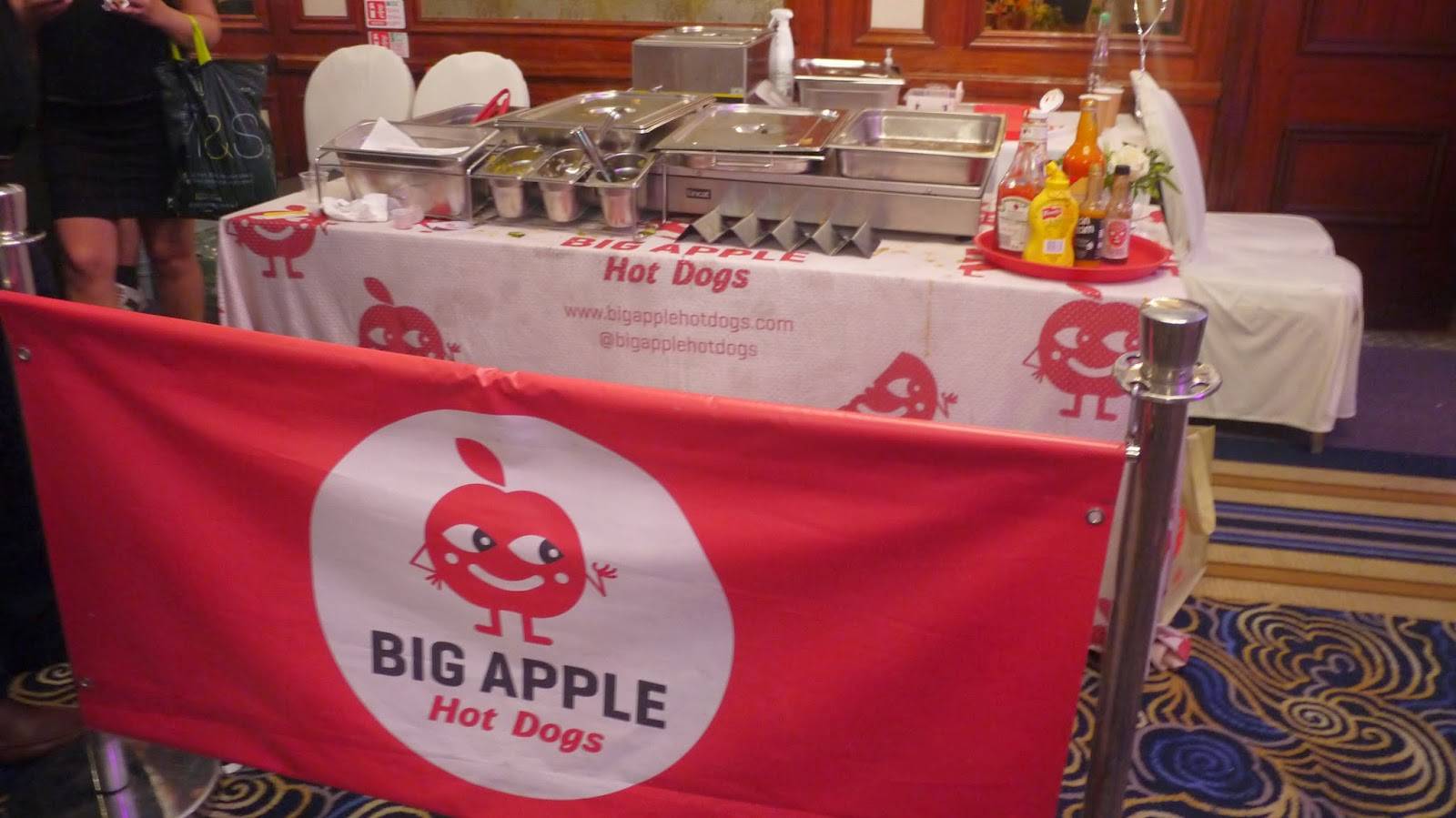Big apple hot dogs at the Yelp 10th birthday party