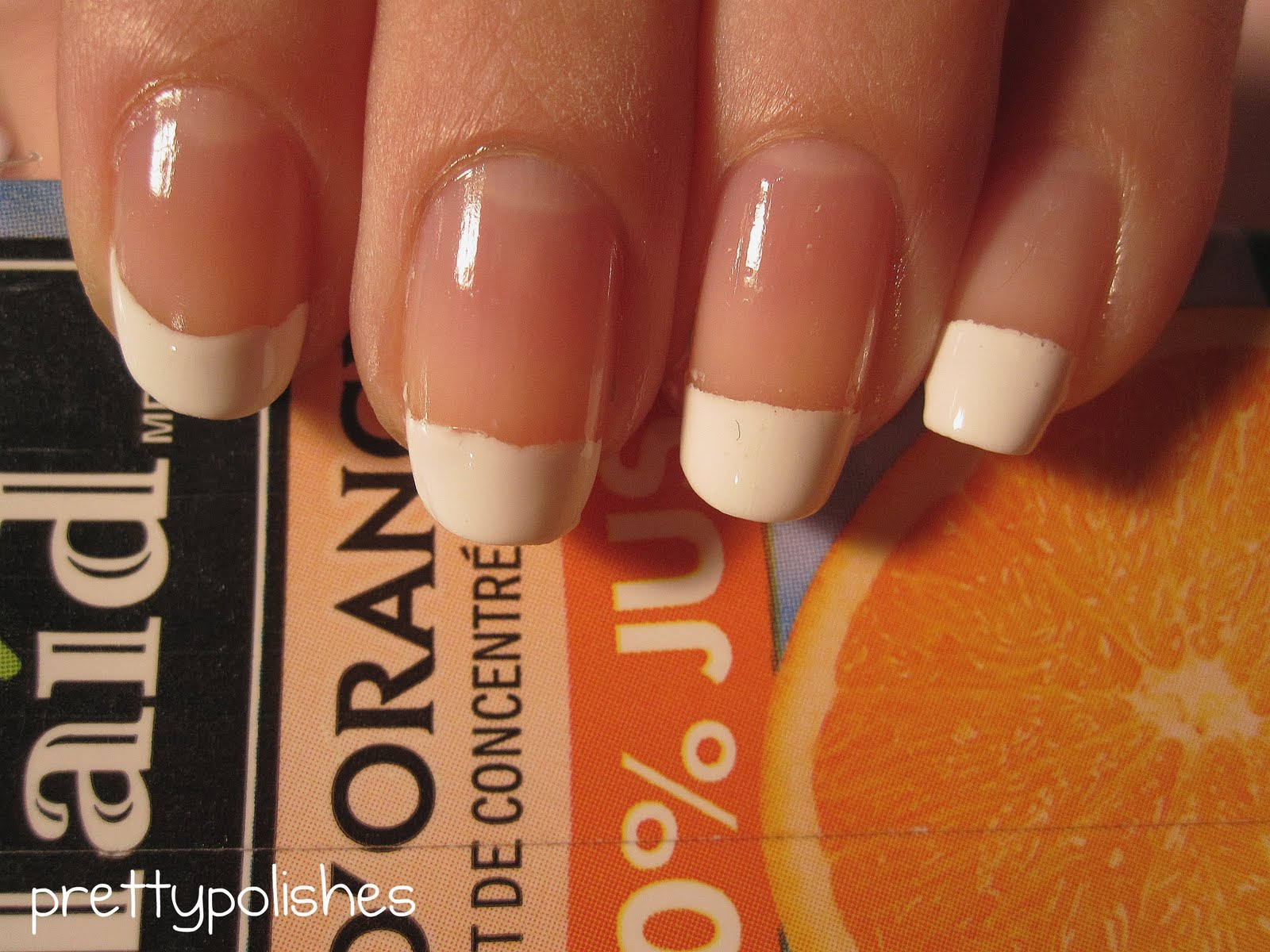 prettypolishes: Easy French Tips (Square & Round Shape Nails)