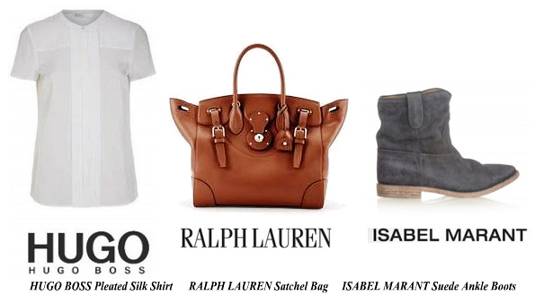 Princess Mary's HUGO BOSS Pleated Silk Shirt RALPH LAUREN Satchel Bag And ISABEL MARANT Suede Ankle Boots