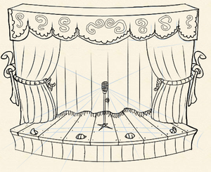 Stage curtain drawing - Stoo S Mobiblogofblob Another Indie Royale Illustration