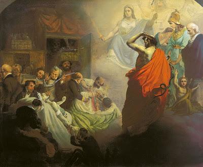 Dipinto di Alexander Beydeman nel quale gli omeopati osservano le brutalità della medicina del XIX secolo