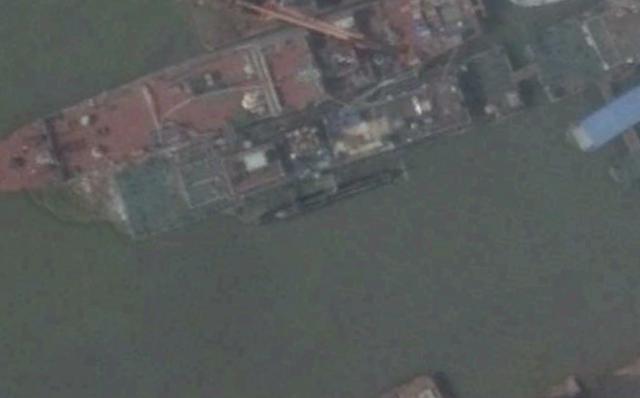 Midget submarine at China's Wuchang shipyard