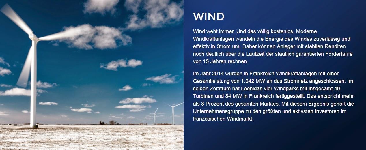 Leonidas Associates Windkraft XVI XVII Frankreich Wind Bewertung Rendite Steuer Vergleich Umweltfonds hochrentabel 2015 Prospekt Beitritt Rabatt günstig seriös