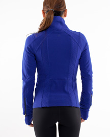 lululemon it's happening jacket in pigment blue back view