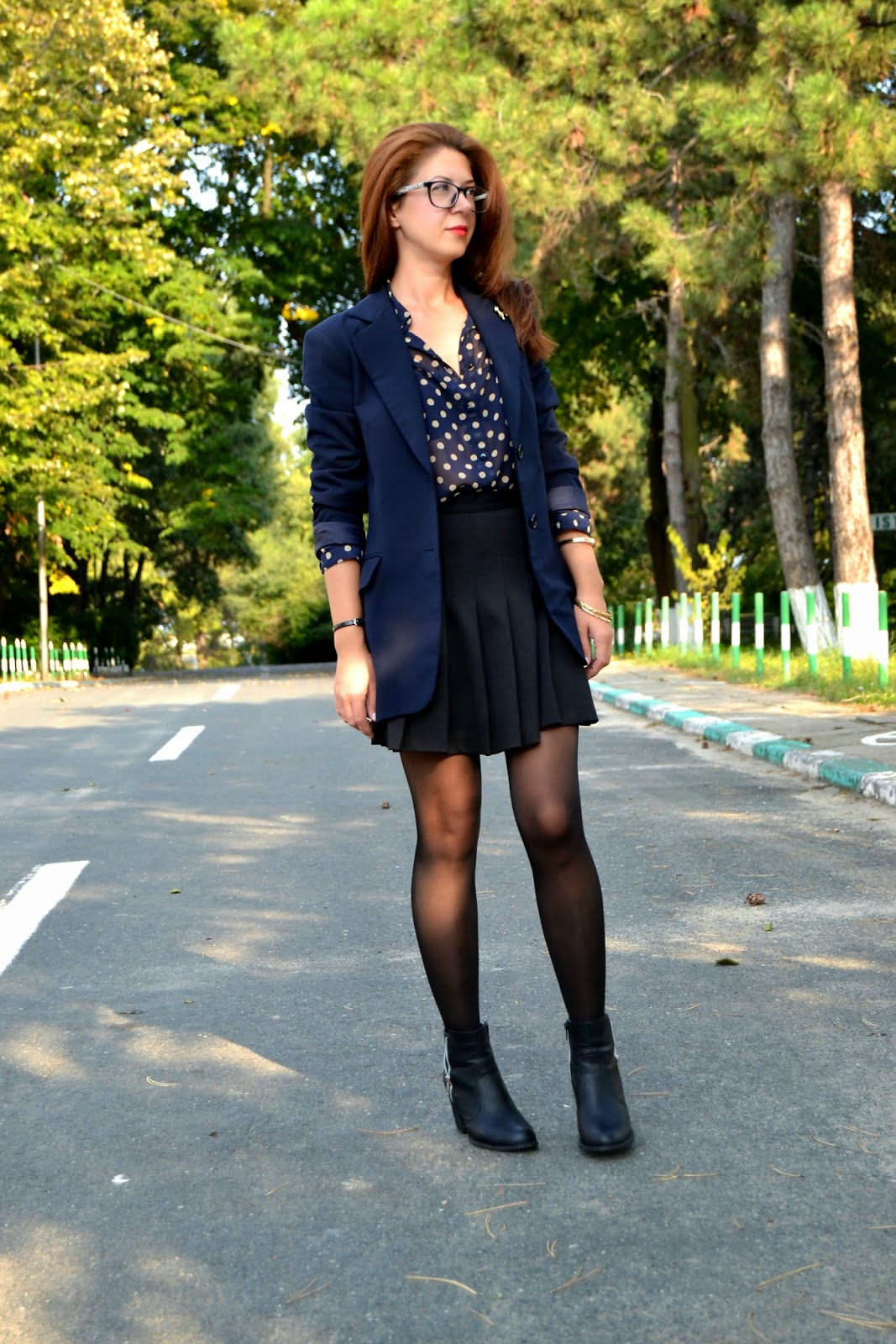 zara blazer, topshop shirt, newlook skirt, newlook ankle boots