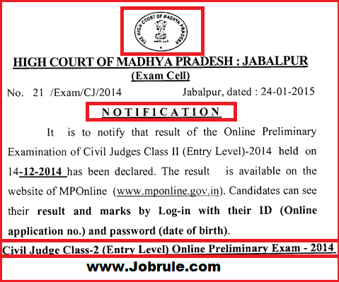 Madhya Pradesh High Court Civil Judge Class-2 (Entry Level) Online Preliminary Examination Result & Answer Key Declared 2015