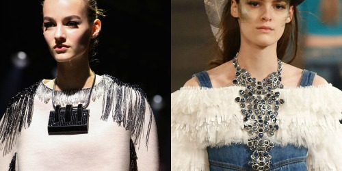 Statement necklaces from Chanel and Lanvin Fall 2014