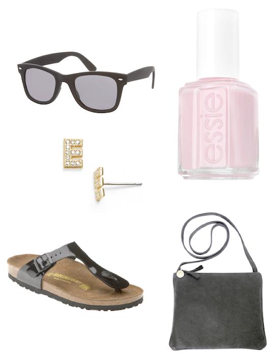 wayfarers, birkenstocks, essie pink polish, clare vivier cross body bags