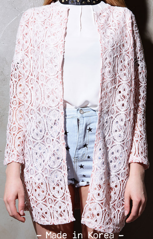Mia Flower Lace Oversized Cardigan