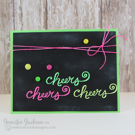 Neon Cheers card by Jennifer Jackson | Years of Cheers Stamp set by Newton's Nook Designs #newtonsnook