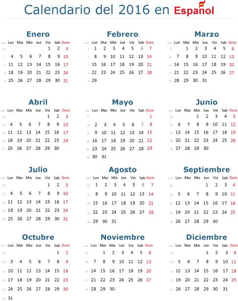 Calendario básico 2016 en español - Vector