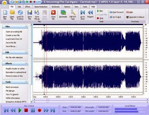 Editor, grabador y conversor de archivos de audio.