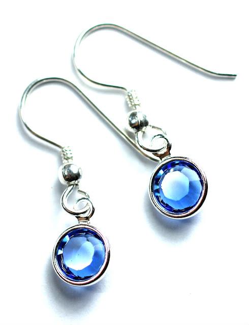 Silber Swarovski Kristall Saphier Ohrhänger