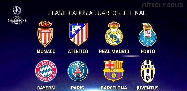 Clasificados a los cuartos de final de la champions league for Cuartos de final champions