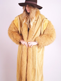 Vintage 1970's fluffy red fox fur maxi coat with toggle front closure.