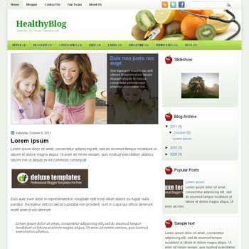 HealthyBlog blogger template. template blogspot magazine style. green color background blogger template