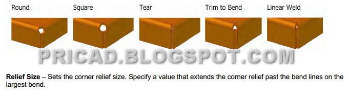Contoh gambar aplikasi corner relief pada gambar produk metal sheet ...