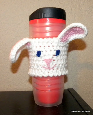 Swirls and Sprinkles: free crochet Easter bunny coffee Kozie pattern