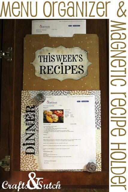 Menu Organizer and recipe holder