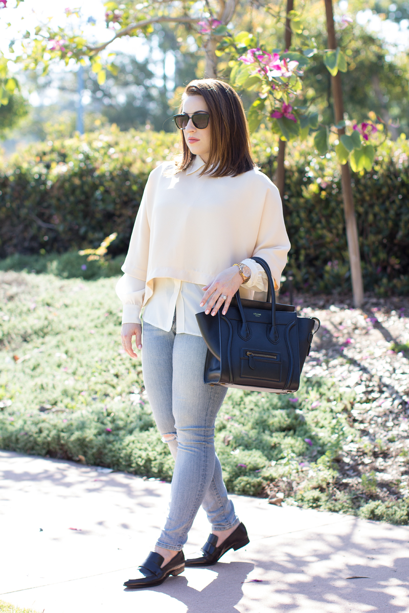 jeffrey campbell black loafers, celine tote, spring outfit ideas