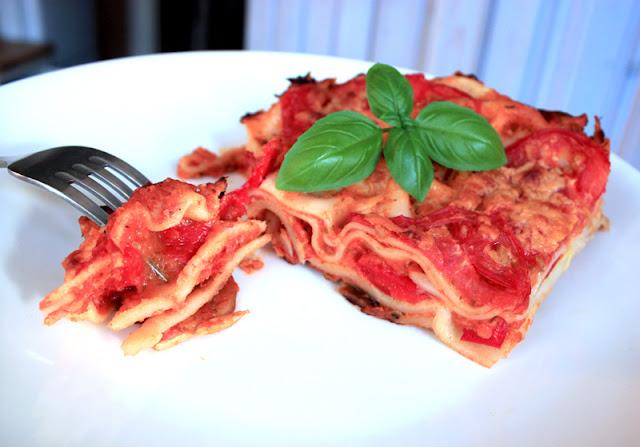 Oppskrift Hjemmelaget Lasagne Vegetar Sopp Squash Paprika Bechamelsaus Tomatsaus