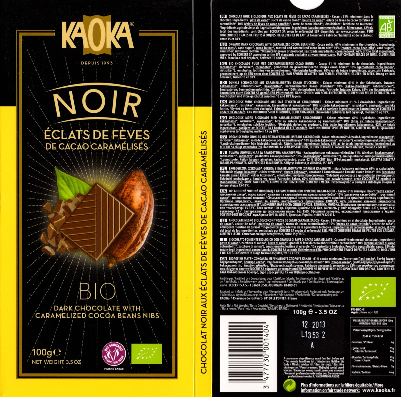 tablette de chocolat noir gourmand kaoka bio noir eclats de fèves de cacao caramélisés