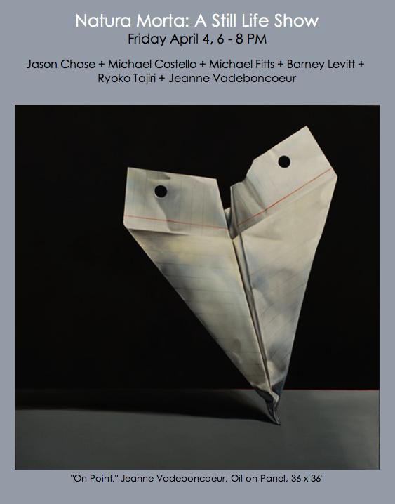 still life, realism, paper airplane painting. jeanne vadeboncoeur