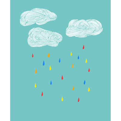 rainclouds print sparklehen art folksy blue weather