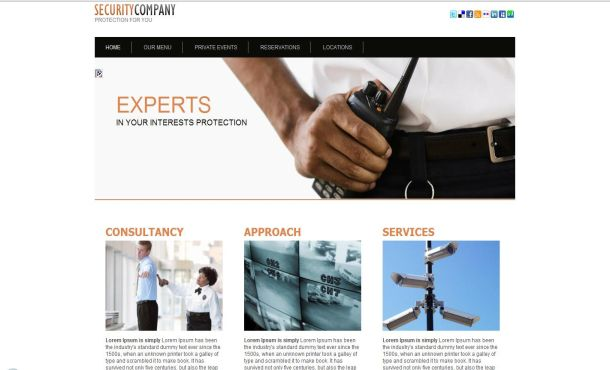 Free security company css website template flashek