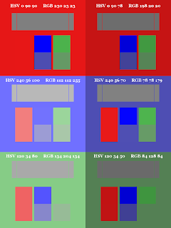 Color Pattern; Small Blocks on Top;  Non-Dithered Gradient; Mode Color