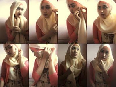Gambar Tutorial Cara Memakai Jilbab Segi Empat
