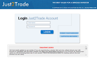 Just2trade login page