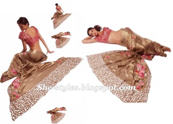 House Of Raaj Eid Sarees 2012 Party Wear Saree Saree Blouse 2012 She Styles Pakistani