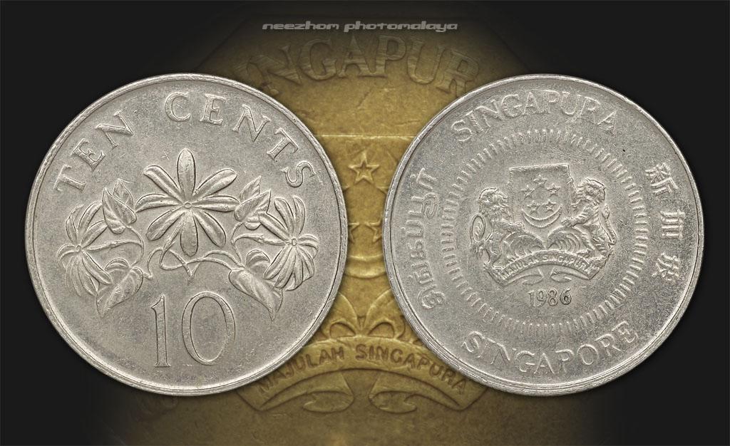 Koleksi duit syiling Singapura 10 cents tahun 1986