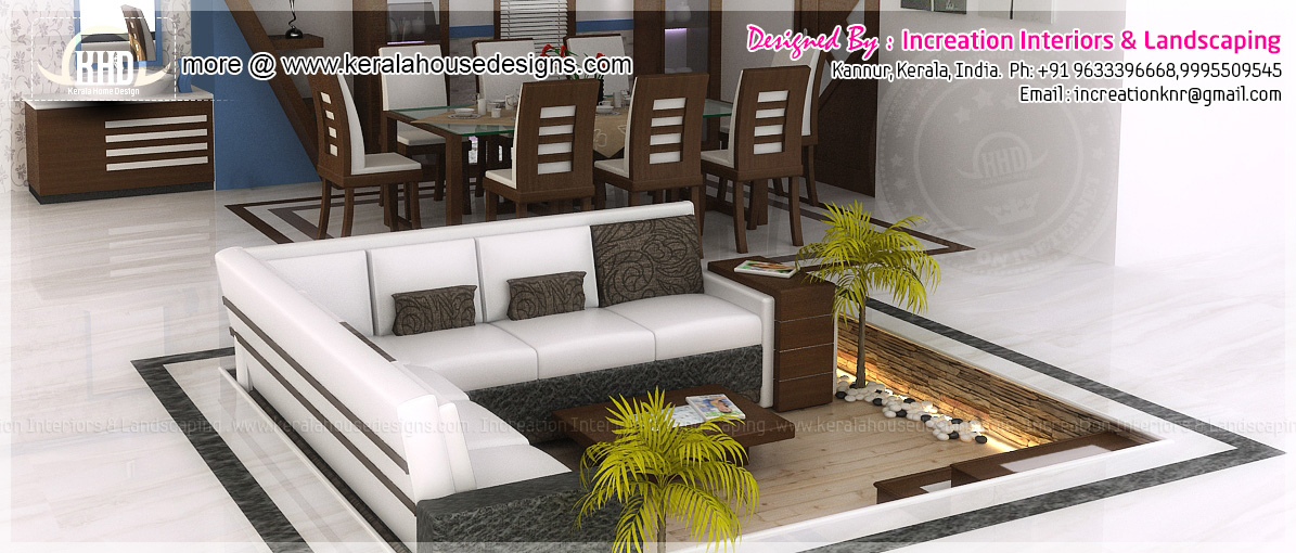 Sunken seating and other home interior ideas kerala home for Sunken seating