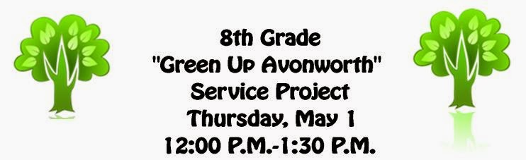 Green Up Avonworth Service Project Thu May 1 12:00- 1:30 PM