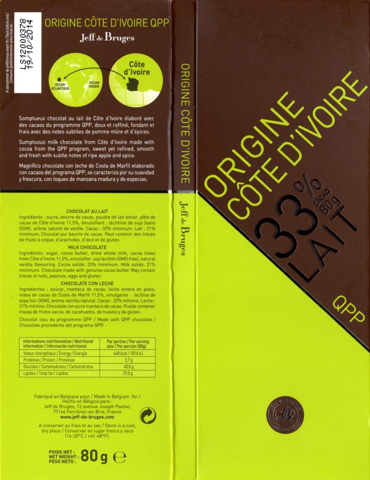 tablette de chocolat lait dégustation jeff de bruges origine côte d'ivoire 33
