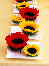 Wedding inspirations bright complimentary color scheme - Red and yellow centerpieces ...