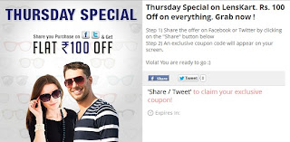 Thursday Special Offer: Get Rs.100 OFF on All Sunglasses at Lenskart (For Today Only)