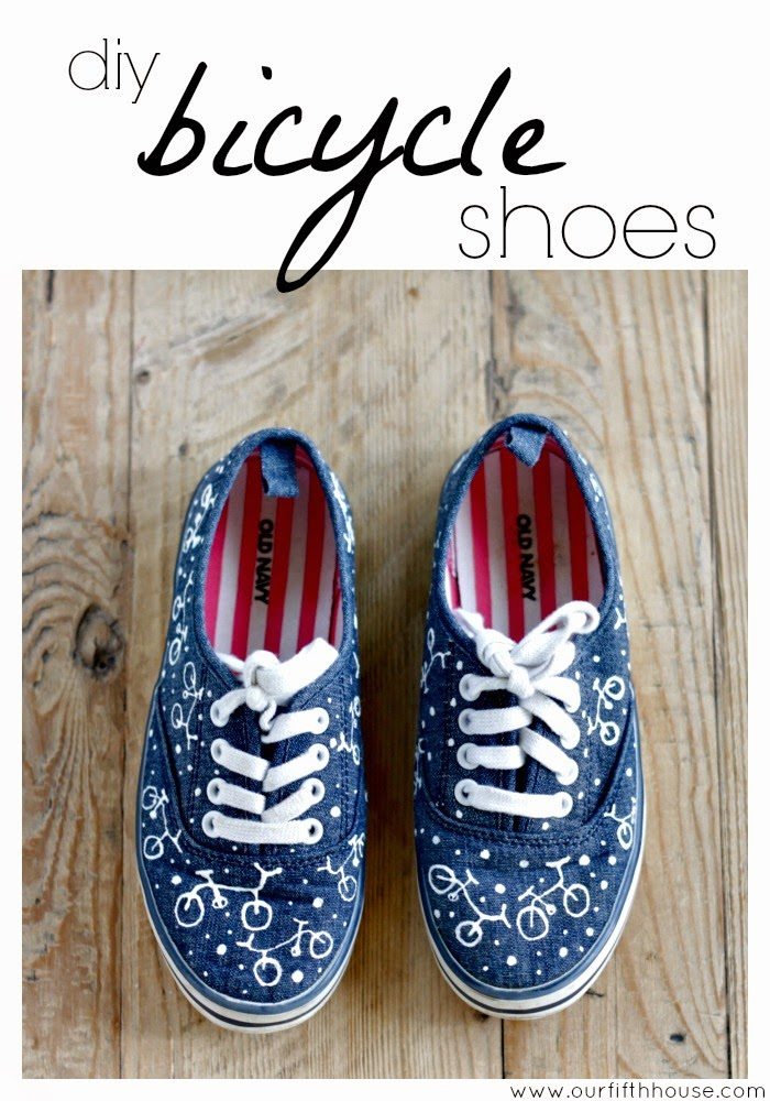 diy bicycle print shoes