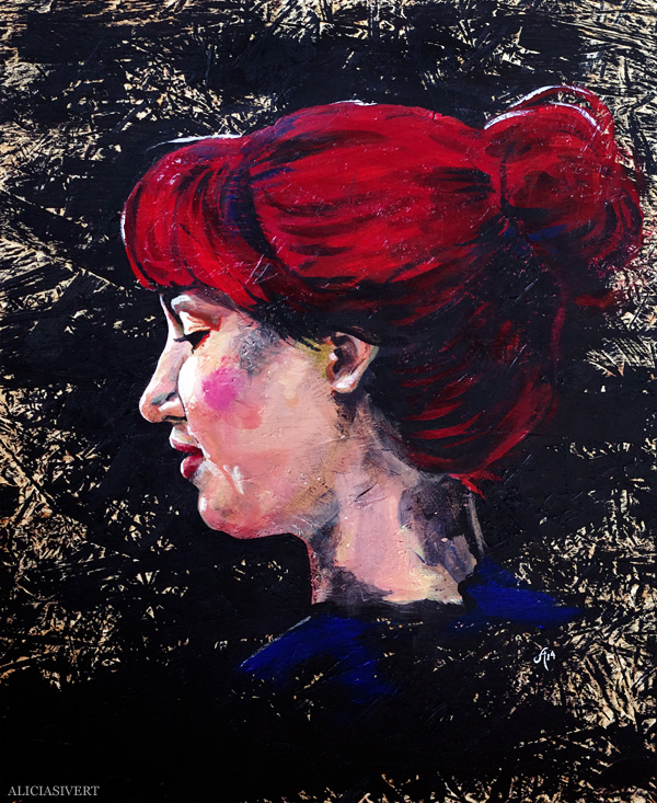 aliciasivert, alicia sivert, alicia sivertsson, målning, akryl, acrylic paint, acrylics, portrait, porträtt, woman, colours, red hair, redhead, self portrait, självporträtt, rött hår