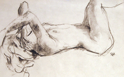 Jenna, gesture drawing, charcoal on paper, by Shannon Reynolds