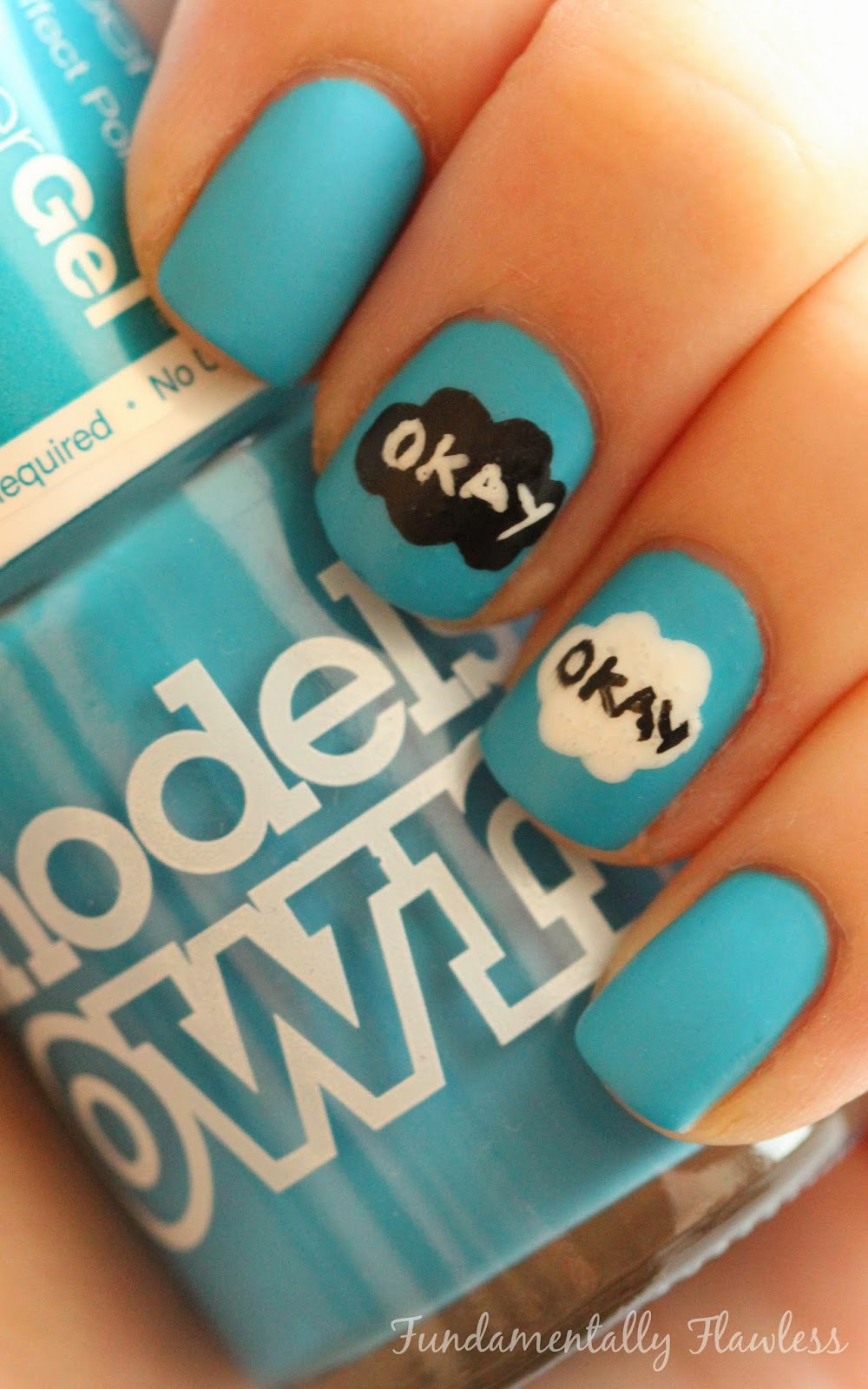 The Fault in Our Stars Nail Art with Models Own Blue Glint