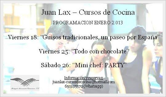 Programación de enero de Juan Lax Cursos de cocina
